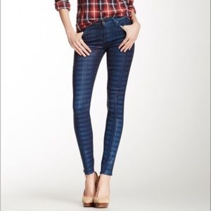 7 For All Mankind The Skinny Plaid Coated Jeans